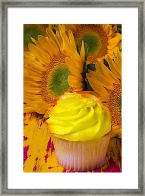 Yellow Cupcake And Sunflower Framed Print by Garry Gay
