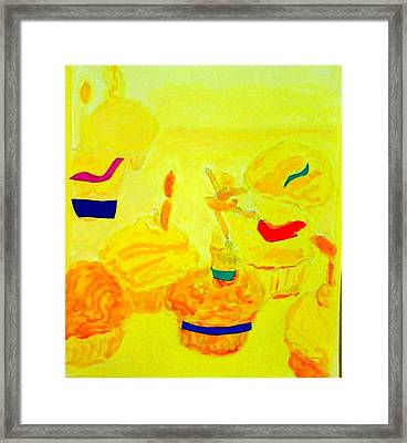 Yellow Cupcakes Framed Print by Suzanne Berthier