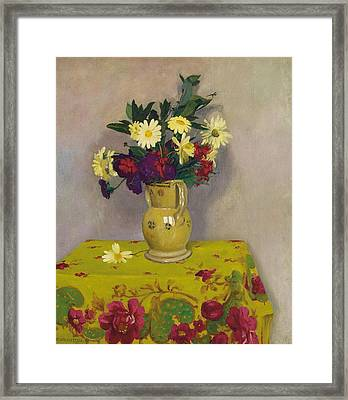 Yellow Daisies And Various Flowers Framed Print by Felix Edouard Vallotton