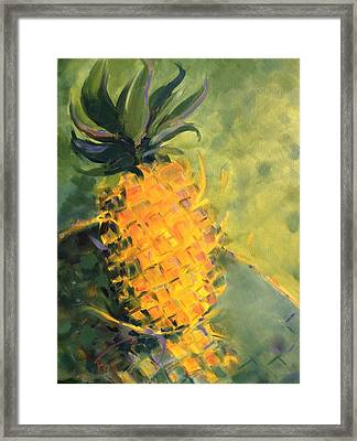 Yellow Dancing On Green Framed Print