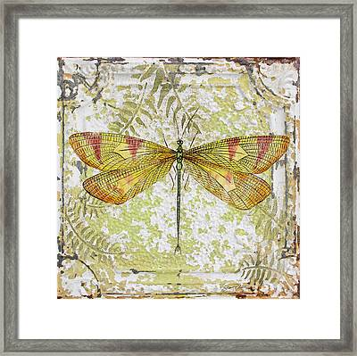 Yellow Dragonfly On Vintage Tin Framed Print by Jean Plout