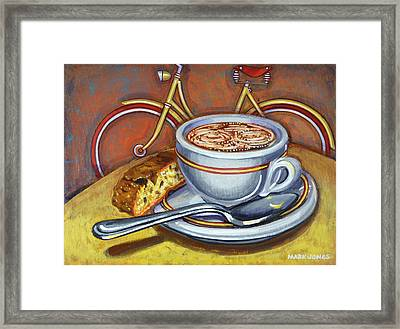 Framed Print featuring the painting Yellow Dutch Bicycle With Cappuccino And Biscotti by Mark Howard Jones