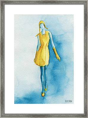 Yellow Ensemble - Watercolor Fashion Illustration Framed Print by Beverly Brown