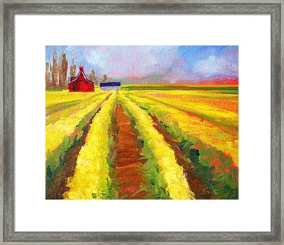 Yellow Field Landscape Framed Print by Nancy Merkle