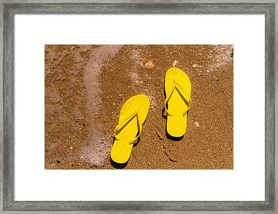 Yellow Flip Flops On The Beach Framed Print by Teri Virbickis