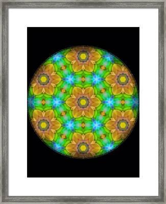 Yellow Flower Mandala Framed Print by Karen Buford