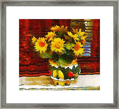 Yellow Flowers In A Porcelain Vase Framed Print by Bishopston Fine Art