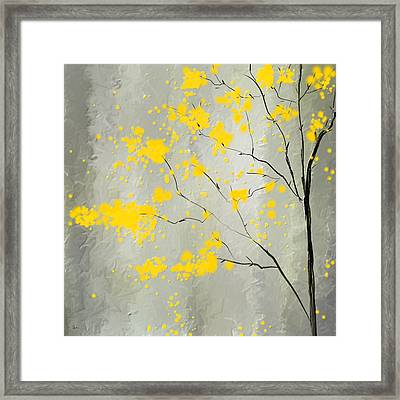 Yellow Foliage Impressionist Framed Print by Lourry Legarde