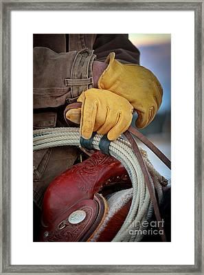 Yellow Gloves Framed Print