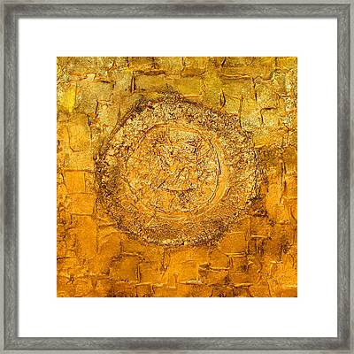 Yellow Gold Mixed Media Triptych Part 1 Framed Print
