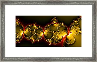 Yellow Golden And Red Abstract Art Panorama Format Framed Print
