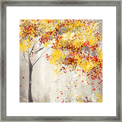 Yellow Gray And Red Framed Print by Lourry Legarde