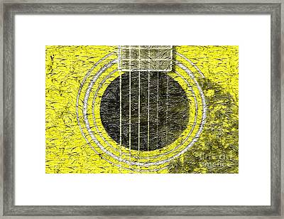 Yellow Guitar - Digital Painting - Music Framed Print by Barbara Griffin