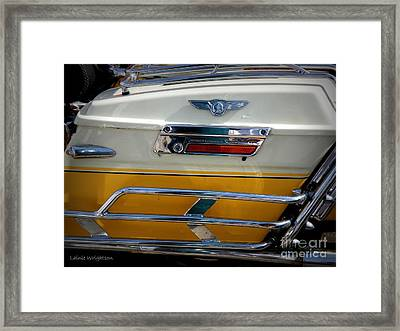 Yellow Harley Saddlebags Framed Print by Lainie Wrightson