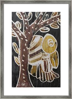 Yellow Head Brown Owl Bird On The Tree Framed Print by Okunade Olubayo