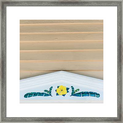 Yellow Hibiscus Wall Detail Key West - Square  Framed Print by Ian Monk