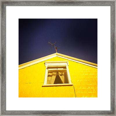 Yellow House In Akureyri Iceland Framed Print
