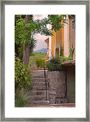 Yellow House In Eze France Framed Print