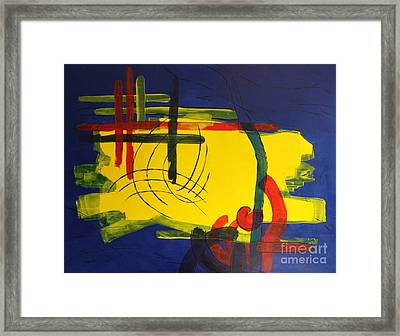 Yellow Island On Blue Framed Print by Christiane Schulze Art And Photography
