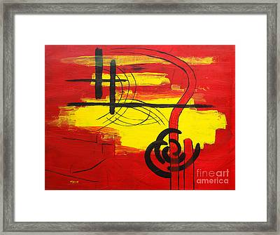 Yellow Island On Red II Framed Print by Christiane Schulze Art And Photography
