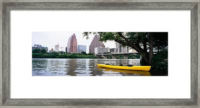 Yellow Kayak In A Reservoir, Lady Bird Framed Print by Panoramic Images