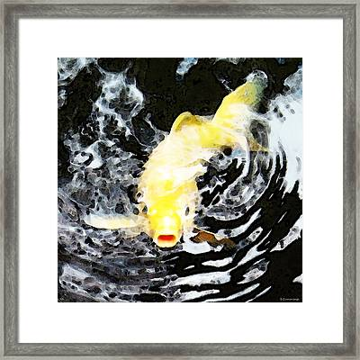 Yellow Koi - Black And White Art Framed Print by Sharon Cummings