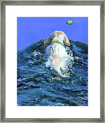 Yellow Lab  Blue Wake Framed Print by Molly Poole