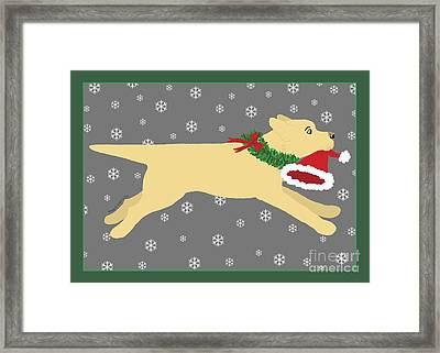 Yellow Labrador Dog Steals Santa's Hat Framed Print
