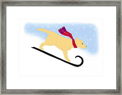 Yellow Labrador Snowboard Dog Framed Print