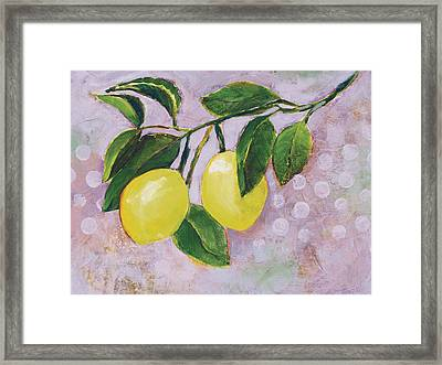 Yellow Lemons On Purple Orchid Framed Print by Jen Norton