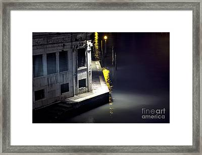 Yellow Light On The Grand Canal Framed Print by John Rizzuto