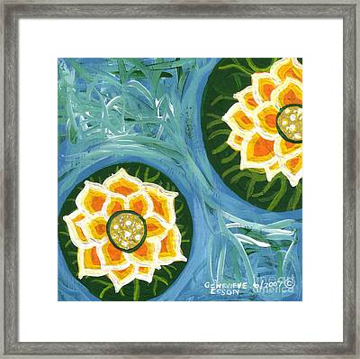 Yellow Water Lilies Framed Print by Genevieve Esson