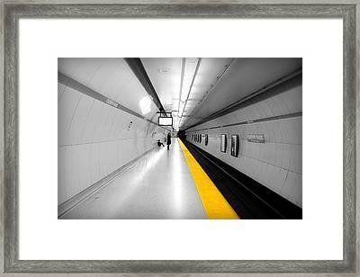 Yellow Line Framed Print by Valentino Visentini