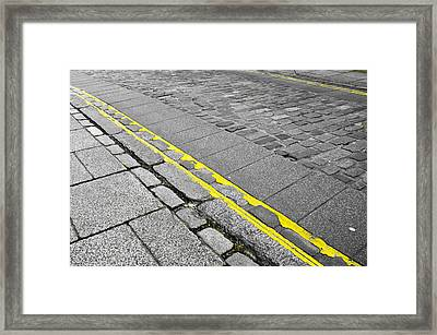 Yellow Lined Framed Print by Tom Gowanlock