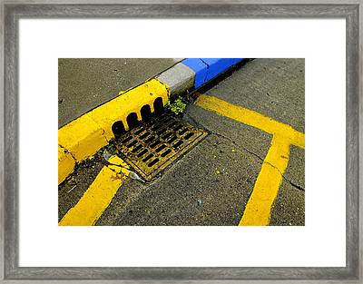 Yellow Lines And Sewer Grate On Street Framed Print