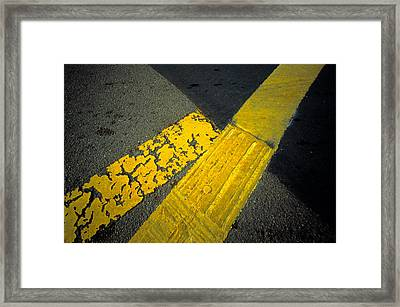 Yellow Lines On Road Framed Print by Panoramic Images