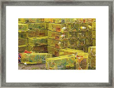 Yellow Lobster Traps In Maine Framed Print by Keith Webber Jr
