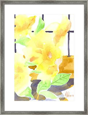 Yellow Magnolias In The Window Framed Print by Kip DeVore