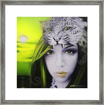 Portrait - ' Yellow Moon '	 Framed Print