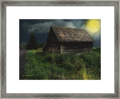 Yellow Moon On The Rise Framed Print