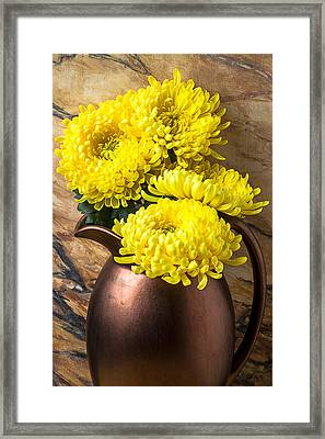 Yellow Mums In Copper Vase Framed Print by Garry Gay