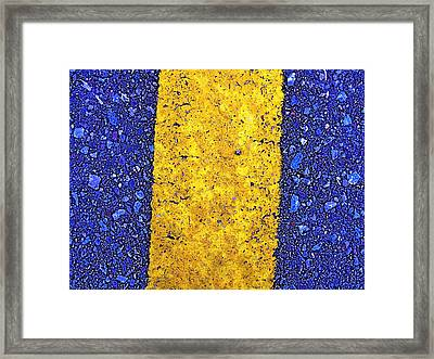 Yellow On Blue Stone Framed Print