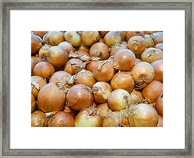Framed Print featuring the photograph Yellow Onions by Emmy Marie Vickers