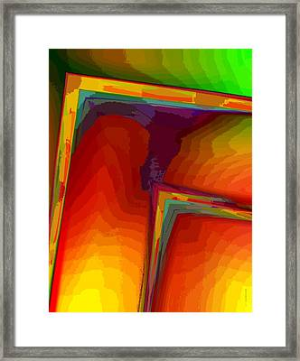 Yellow Orange And Green Design Framed Print by Mario Perez