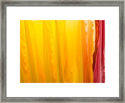 Yellow Orange And Red Bed Sheets Bright And Colorful Framed Print