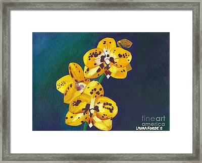 Framed Print featuring the painting Yellow Orchids by Laura Forde