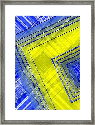 Yellow Over Blue Geometric Art Framed Print by Mario Perez
