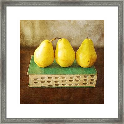 Yellow Pears And Vintage Green Book Still Life Framed Print