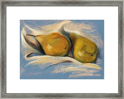 Yellow Pears On Blue Paper Pastel Drawing Framed Print by MM Anderson