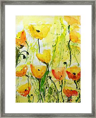 Yellow Poppys - Abstract Floral Painting Framed Print by Ismeta Gruenwald